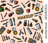 color hand drawn makeup pattern ... | Shutterstock .eps vector #281087822