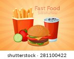 fast food  lunch  meal  set | Shutterstock .eps vector #281100422