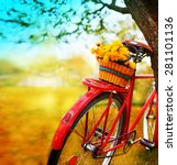 vintage bicycle with flowers on ... | Shutterstock . vector #281101136