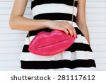 trendy girl in elegant striped... | Shutterstock . vector #281117612