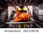 housewife prepares roast... | Shutterstock . vector #281118518