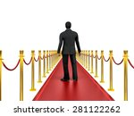 3d image of classic red carpet... | Shutterstock . vector #281122262