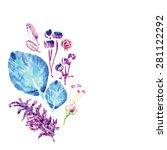 meadow plants vector watercolor ... | Shutterstock .eps vector #281122292