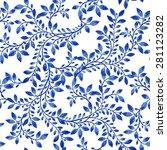 vector blue floral watercolor... | Shutterstock .eps vector #281123282