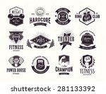 set of retro styled fitness... | Shutterstock .eps vector #281133392