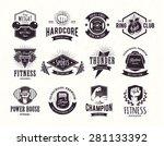 set of retro styled fitness... | Shutterstock .eps vector #281133392