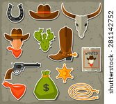wild west cowboy objects and...   Shutterstock .eps vector #281142752