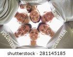 happy volunteer family looking... | Shutterstock . vector #281145185