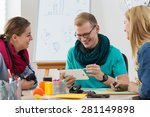 group of young interns working... | Shutterstock . vector #281149898
