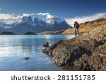 Photographer in the National park Torres del Paine, Patagonia, Chile