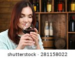 young woman tasting wine in... | Shutterstock . vector #281158022