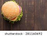 top view bbq hamburger on the...   Shutterstock . vector #281160692