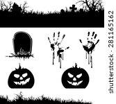 halloween banner and elements   ... | Shutterstock .eps vector #281165162