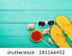 summer accessories and shells...   Shutterstock . vector #281166452
