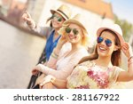 a picture of three friends... | Shutterstock . vector #281167922
