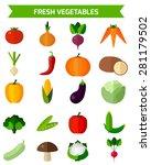 fresh vegetables icons set.... | Shutterstock .eps vector #281179502