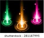 dark orange pink green light... | Shutterstock .eps vector #281187995