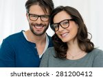 closeup of smiling couple... | Shutterstock . vector #281200412