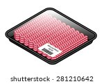 a tray of pink minced meat... | Shutterstock .eps vector #281210642
