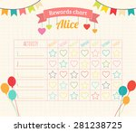 kids rewards chart with tags ... | Shutterstock .eps vector #281238725