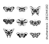 set of black butterfly... | Shutterstock .eps vector #281244182