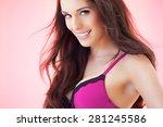 beautiful woman with long dark... | Shutterstock . vector #281245586