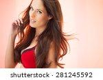 beautiful woman with long dark... | Shutterstock . vector #281245592
