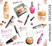 glamorous make up watercolor... | Shutterstock .eps vector #281260118