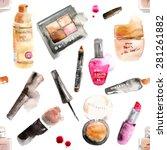 glamorous make up watercolor... | Shutterstock .eps vector #281261882