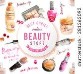 glamorous make up watercolor... | Shutterstock .eps vector #281262092