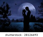 Romantic Couple At Night With...