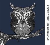 stylised hand drawn owl... | Shutterstock . vector #281268215