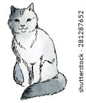 gray cat   hand drawn vector... | Shutterstock .eps vector #281287652