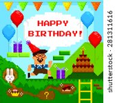 birthday card designed as retro ... | Shutterstock .eps vector #281311616