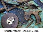 Old Rusty Vivid Tools On Work...