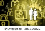 businessman protecting family...   Shutterstock . vector #281320022