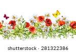 floral horizontal border.... | Shutterstock . vector #281322386