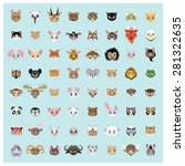collection of 64 cute animal...   Shutterstock .eps vector #281322635