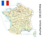 france   detailed map  ... | Shutterstock .eps vector #281329406