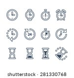 time and clock icons on white...