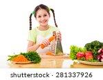 smiling girl grate the carrots... | Shutterstock . vector #281337926