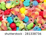 border of colorful jelly candies | Shutterstock . vector #281338736