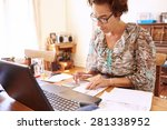 well aged female bookkeeper... | Shutterstock . vector #281338952