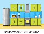 kitchen interior with furniture ... | Shutterstock .eps vector #281349365