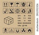 cargo symbols on cardboard...   Shutterstock .eps vector #281352326