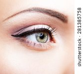 close up shot of female eye... | Shutterstock . vector #281385758