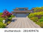 double doors garage and long... | Shutterstock . vector #281409476
