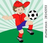 young boy playing football... | Shutterstock .eps vector #28142053