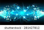 dark blue shining atom scheme.... | Shutterstock .eps vector #281427812