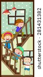 children walking up the stairs | Shutterstock .eps vector #281431382